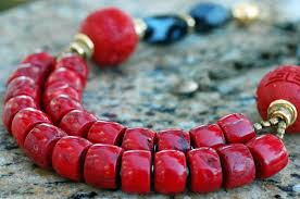 black agate necklace images Asian inspired red coral cinnabar and black agate statement necklace jpg