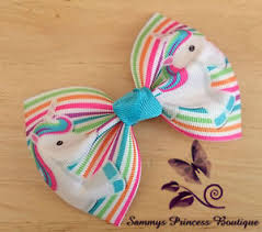 ribbon boutique new unicorn pastel rainbow large big ribbon boutique hair