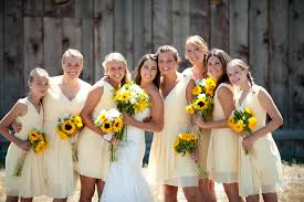 rustic wedding yellow bridesmaid dresses and cowboy boots