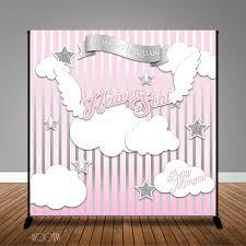 heaven sent angel of mine baby shower banner backdrop step u0026