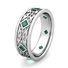 celtic mens wedding bands celtic wedding band for men in platinum princess cut emerald ring