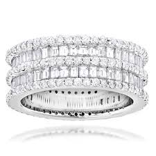 eternity rings diamonds images Designer eternity rings 4 5 carat round baguette diamonds band 14k jpg