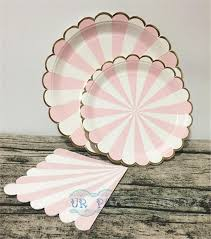 2017 wholesale pink stripe gold foil scallop paper plates large