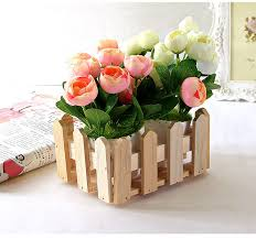 wood flowers rectangle wood flower holder box wooden organizer for
