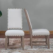 Dhi Nice Nail Head Upholstered Dining Chair Set Of 2 Multiple Colors Wheat Nailhead Dining Chairs Canada Image Of Fabric Upholstered Dining