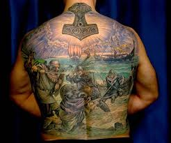 viking warriors battle on the see tattoo on back tattooimages biz