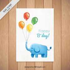 watercolor elephant with balloons birthday card vector free download
