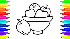coloring book fruits how to paint colorful apples colouring