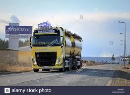 volvo truck center lieto finland march 21 2015 yellow volvo fh tank truck on the