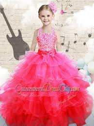 beautiful halter top pink pageant dresses for kid with beading
