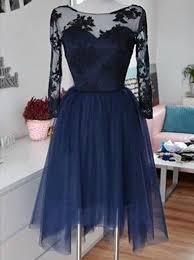 Black Homecoming Dresses With Sleeves Buy Generous Bateau 3 4 Sleeves Knee Length Navy Blue Homecoming