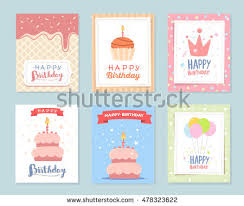 vector set colorful illustration happy birthday stock vector