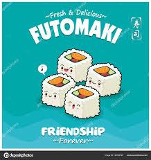 affiche cuisine vintage conception affiche vintage cuisine japonaise avec des personnages