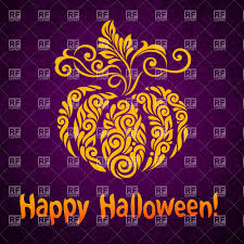happy halloween pumpkin clipart happy halloween card with stylized ornate pumpkin vector image