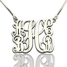 Initial Monograms Customized 5 Initials Family Monogram Necklace Silver Initials