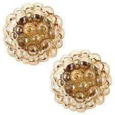 Flush Lights Pair Of Limburg Flush Lights Amber Tone Bubble Glass By Helena