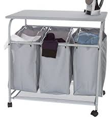 Laundry Sorter With Folding Table Ollieroo Classic Rolling Laundry Sorter Cart Heavy