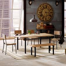 Dining Table Natural Wood Natural Wood Rustic Dining Table 6 Piece With 4 Chairs 1 Table 1