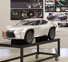lexus toyota models clay model of the lexus ux concept partially covered in di noc