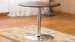 Adjustable Height Bar Table Roundhill Furniture Adjustable Height Wood And Chrome Metal Bar