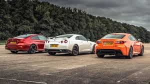 nissan gtr vs mustang top gear drag races 6 bmw m4 vs lexus rc f vs gt r top gear