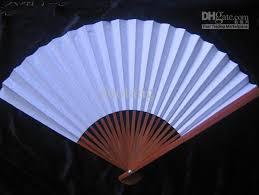 cheap fans blank white paper folding fans students child diy