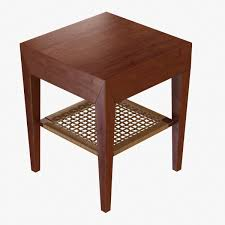 End Table With Shelves by Bedside Table With Rattan Shelf 3d Model Cgtrader