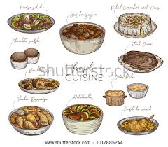 collection cuisine cuisine collection delicious food isolated stock vector