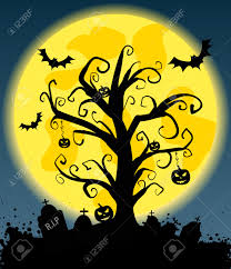 halloween background with tree silhouette on full moon jack