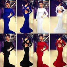 long sleeve prom ball cocktail party dress formal evening gown mermaid