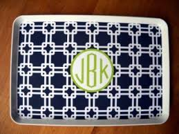 monogrammed platters and trays monogrammed navy links melamine tray the monogram merchant