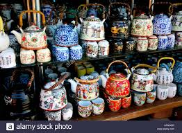 teapots on sale in local market beijing stock photo royalty free