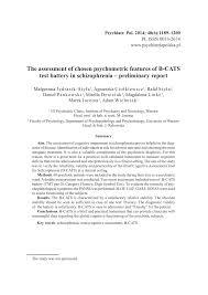 Sho Nr Kur the assessment of chosen psychometric pdf available