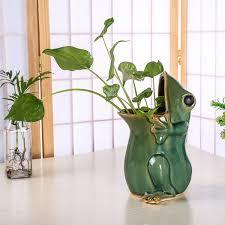 Frog Flower Vase Aliexpress Com Buy Ceramic Frog Figurine Flower And Plant Pot