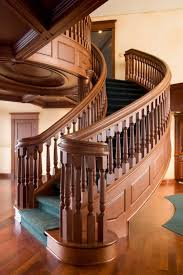 Interior Wood Railing Basement Interior With Wooden Railing Reinforce A Staircase