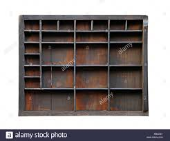 vintage wooden printer tray isolated included clipping path stock image