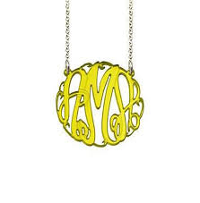 monogram acrylic necklace monogram acrylic jewelry monogram jewelry be monogrammed