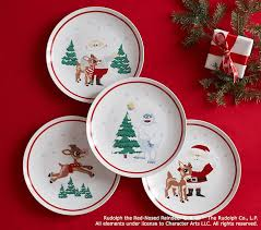 ceramic rudolph the nosed reindeer plate set pottery barn