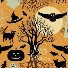 halloween trees background happy halloween pumpkins bats and cats black trees and a bright