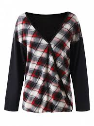 plus size plaid v neck t shirt plus size t shirts 5xl zaful