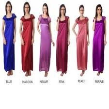 rk bridal daily use combo pack of 6 satin nighty night dress