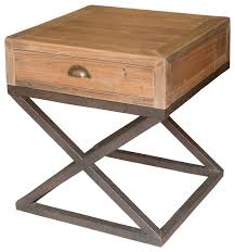 iron and wood side table excellent hansen industrial loft reclaimed wood chest metal base