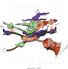 vector of a grinning cartoon halloween witch doing wicked tricks