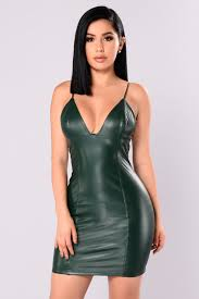 leather dress rider faux leather dress green
