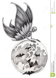 art skull fairy halloween tattoo stock illustration image 66517189
