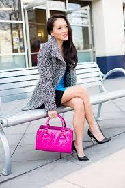 tweed coat u0026 color block dress