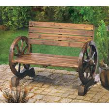 Designer Wooden Garden Bench by Amazon Com Rustic Wood Design Home Garden Wagon Wheel Bench