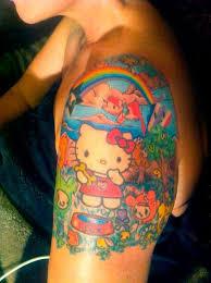colorful tokidoki hello kitty tattoo on sleeve