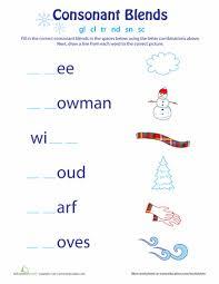 consonant blends winter consonant blends worksheets and phonics