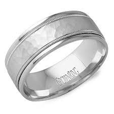 hammered wedding band crown ring lb 2038 m10 hammered milgrain wedding band